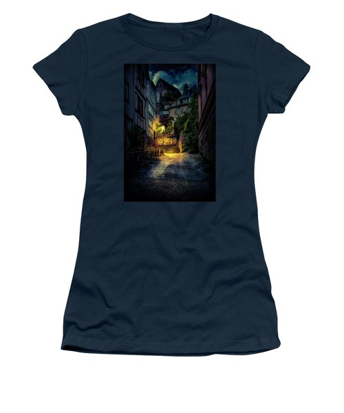 Women's T-Shirt (Athletic Fit) featuring the photograph A Wet Evening In Marburg by David Morefield