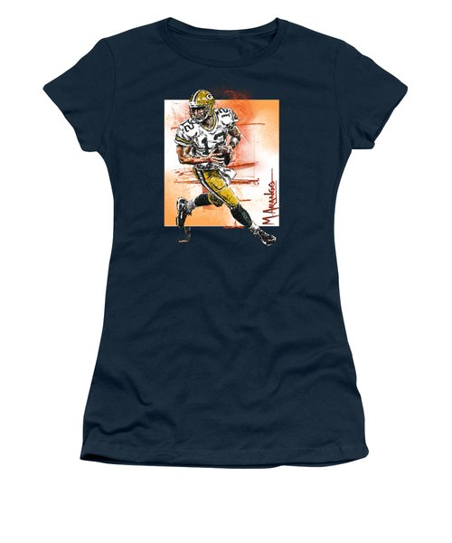 Aaron Rodgers Scrambles Women's T-Shirt (Junior Cut) by Maria Arango