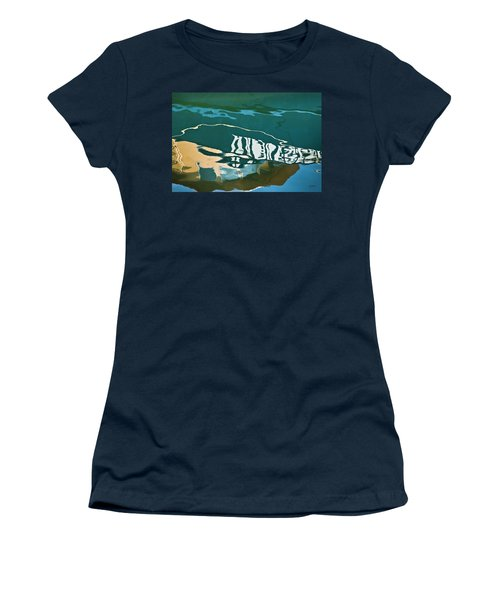 Women's T-Shirt featuring the photograph Abstract Boat Reflection by Dave Gordon