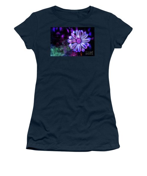 Abstract Glowing Purple And Blue Flower Women's T-Shirt