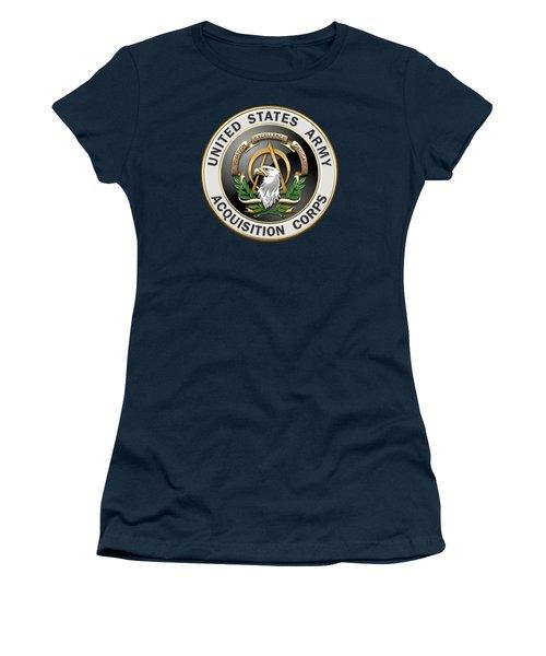 Acquisition Corps - A A C Branch Insignia Over Blue Velvet Women's T-Shirt