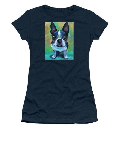 Adorable Boston Terrier Dog Women's T-Shirt (Junior Cut) by Svetlana Novikova