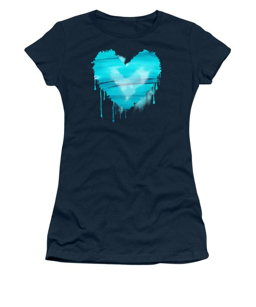 Women's T-Shirt (Junior Cut) featuring the painting Adrift In A Sea Of Blues Abstract by Nikki Marie Smith