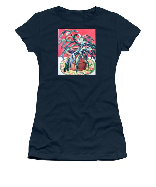 Christmas Cactus Women's T-Shirt (Junior Cut) by Laura Aceto