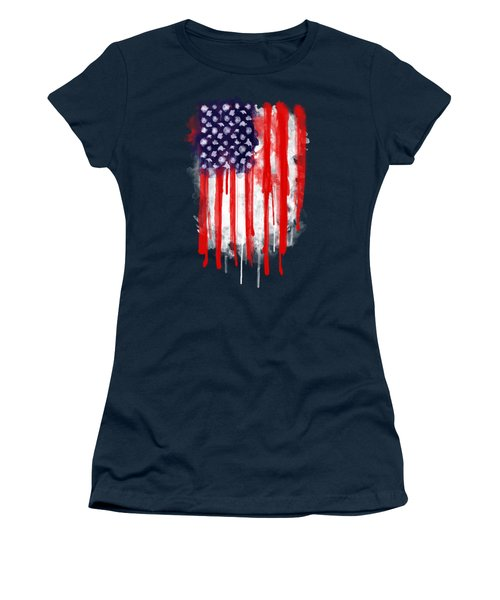 American Spatter Flag Women's T-Shirt (Junior Cut) by Nicklas Gustafsson