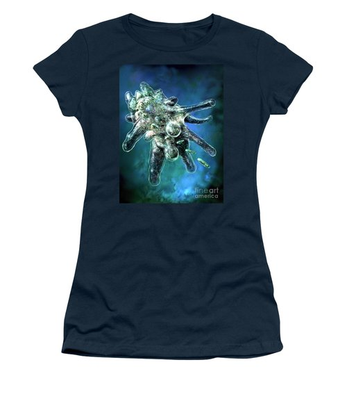 Women's T-Shirt (Junior Cut) featuring the digital art Amoeba Blue by Russell Kightley