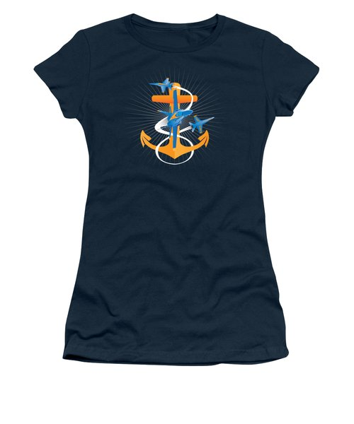 Anchors Aweigh Blue Angels Fouled Anchor Women's T-Shirt (Athletic Fit)