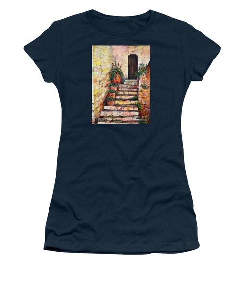 Ancient Stairway Women's T-Shirt (Junior Cut) by Lou Ann Bagnall
