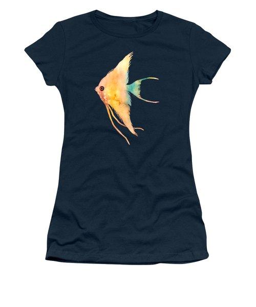 Angelfish II - Solid Background Women's T-Shirt (Junior Cut) by Hailey E Herrera