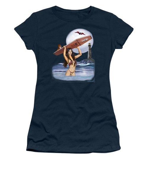 Little Surfer Ghoul Women's T-Shirt (Athletic Fit)
