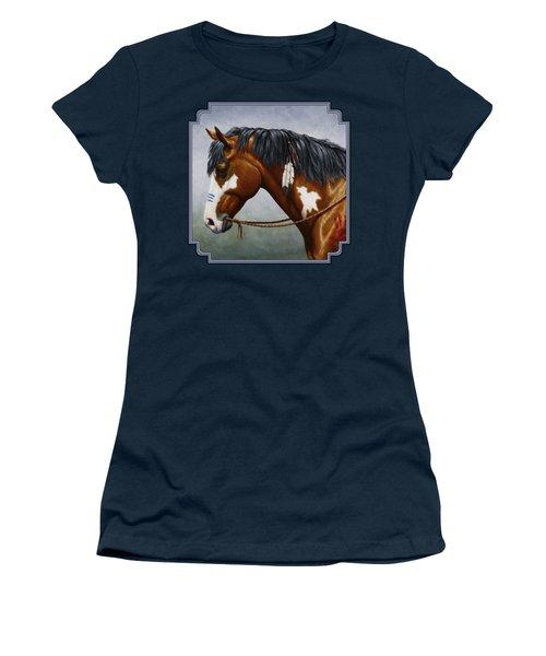 Bay Native American War Horse Women's T-Shirt (Junior Cut) by Crista Forest