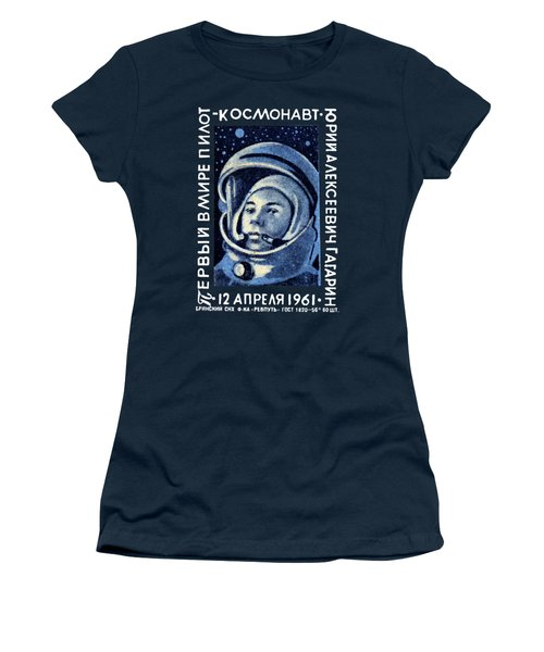 1961 First Man In Space, Yuri Gagarin Women's T-Shirt (Junior Cut) by Historic Image