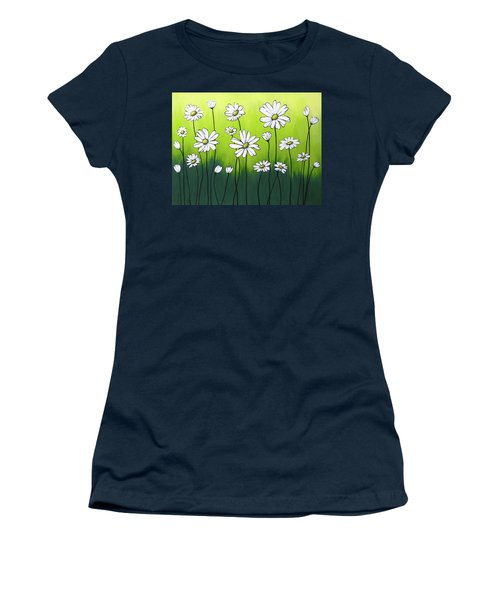 Women's T-Shirt (Junior Cut) featuring the painting Daisy Crazy by Teresa Wing