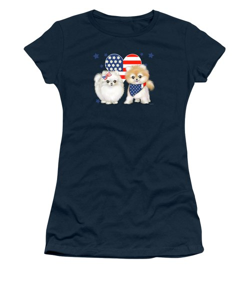 Patriotic Pomeranians Women's T-Shirt (Junior Cut) by Catia Cho