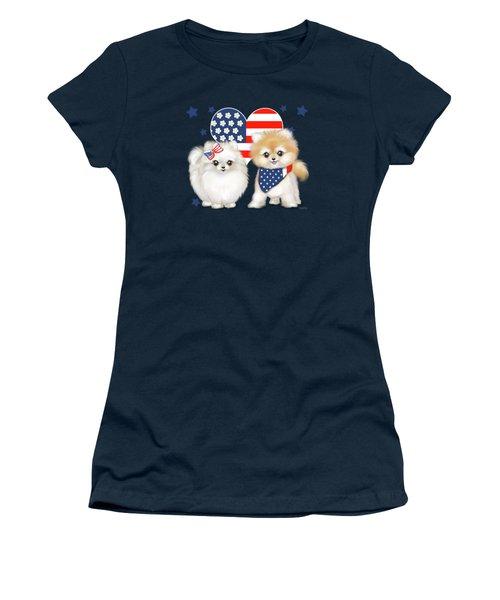 Patriotic Pomeranians Women's T-Shirt (Athletic Fit)