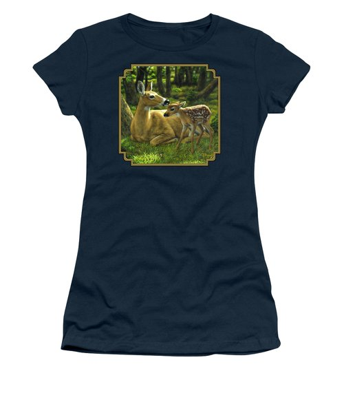 Whitetail Deer - First Spring Women's T-Shirt (Junior Cut) by Crista Forest