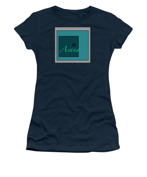 Women's T-Shirt (Junior Cut) featuring the digital art Asana In Blue by Kandy Hurley