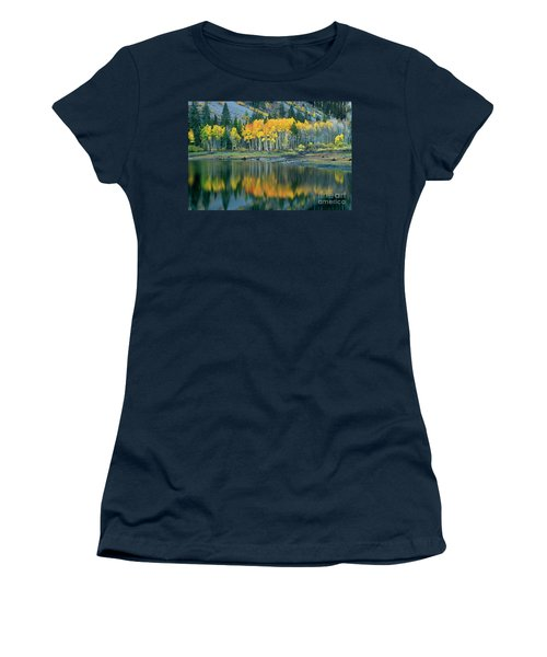 Aspens In Fall Color Along Lundy Lake Eastern Sierras California Women's T-Shirt (Athletic Fit)