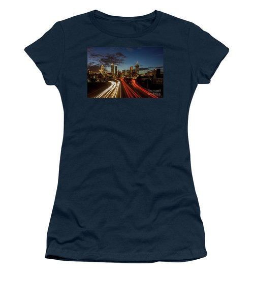 Women's T-Shirt (Junior Cut) featuring the photograph Atlanta Downtown Infusion Atlanta Sunset Cityscapes Art by Reid Callaway