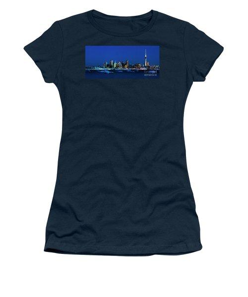 Auckland City Night Lights Women's T-Shirt (Junior Cut) by Karen Lewis