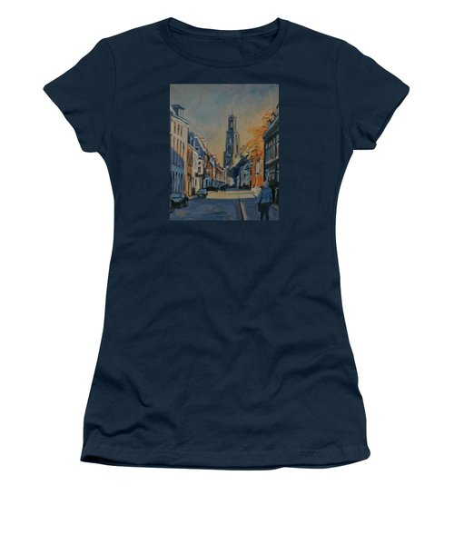 Women's T-Shirt (Junior Cut) featuring the painting Autumn In The Lange Nieuwstraat Utrecht by Nop Briex