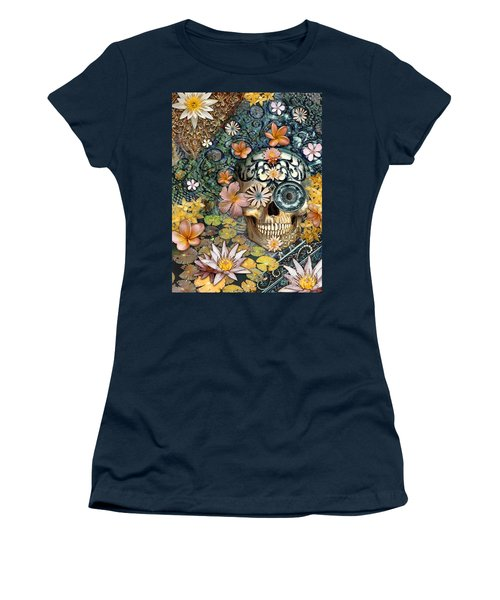 Bali Botaniskull - Floral Sugar Skull Art Women's T-Shirt (Junior Cut) by Christopher Beikmann