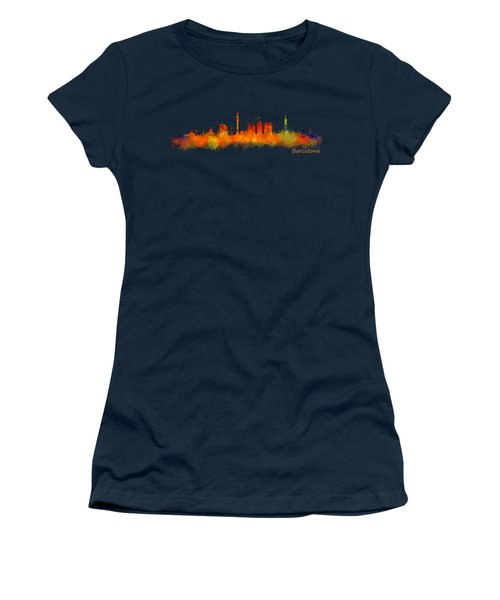 Barcelona City Skyline Hq V2 Women's T-Shirt (Athletic Fit)