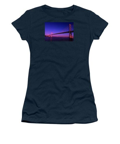 Women's T-Shirt (Junior Cut) featuring the photograph Bay Bridge Sunset by Linda Edgecomb