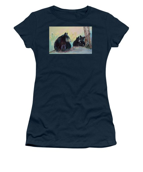 Women's T-Shirt (Athletic Fit) featuring the painting Bears Frolicking In Spring by Jan Dappen
