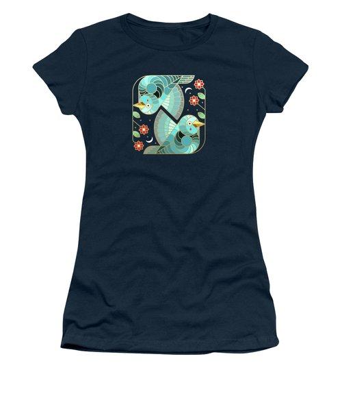 Beautiful Art Deco Midnight Bluebirds And Blossoms Women's T-Shirt