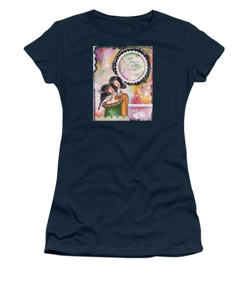 Women's T-Shirt (Junior Cut) featuring the mixed media Best Friends By Heart, Sisters By Soul by Stanka Vukelic