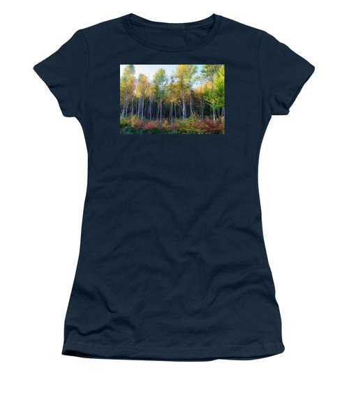 Women's T-Shirt featuring the photograph Birch Trees Turn To Gold by Jeff Folger