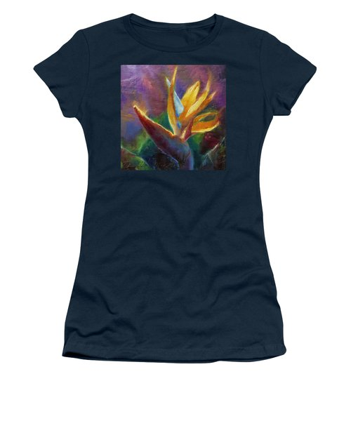 Women's T-Shirt (Junior Cut) featuring the painting Bird Of Paradise - Tropical Hawaiian Flowers by Karen Whitworth