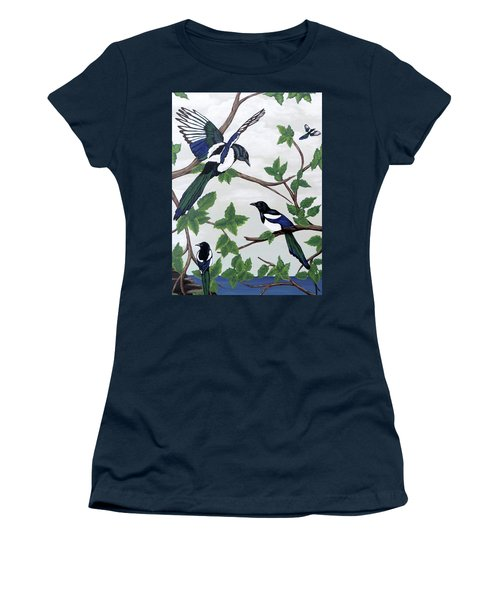 Women's T-Shirt (Athletic Fit) featuring the painting Black Billed Magpies by Teresa Wing