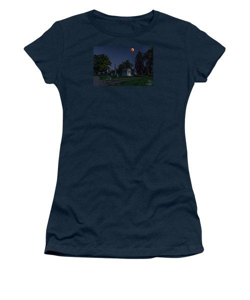 Women's T-Shirt (Junior Cut) featuring the photograph Blood Moon At Fairmount Cemetery by Stephen  Johnson