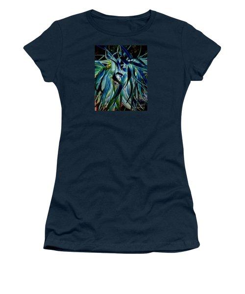 Blue Abstract Art Lorx Women's T-Shirt (Junior Cut) by Rebecca Margraf