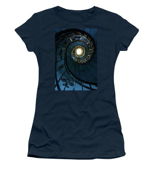 Women's T-Shirt (Junior Cut) featuring the photograph Blue And Golden Spiral Staircase by Jaroslaw Blaminsky