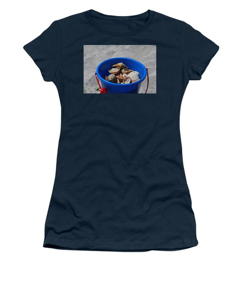 Women's T-Shirt (Athletic Fit) featuring the photograph Blue Beach Bucket by Michiale Schneider