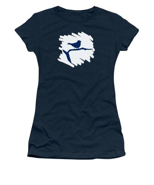 Blue Bird Silhouette Modern Bird Art Women's T-Shirt (Athletic Fit)