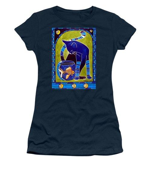 Blue Cat With Goldfish Women's T-Shirt (Junior Cut) by Dora Hathazi Mendes