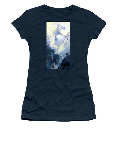 Blue Circus Pony 1 Women's T-Shirt (Junior Cut) by Dina Dargo