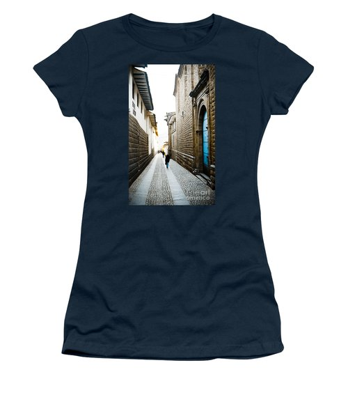 Blue Door In Cusco Women's T-Shirt (Junior Cut) by Darcy Michaelchuk