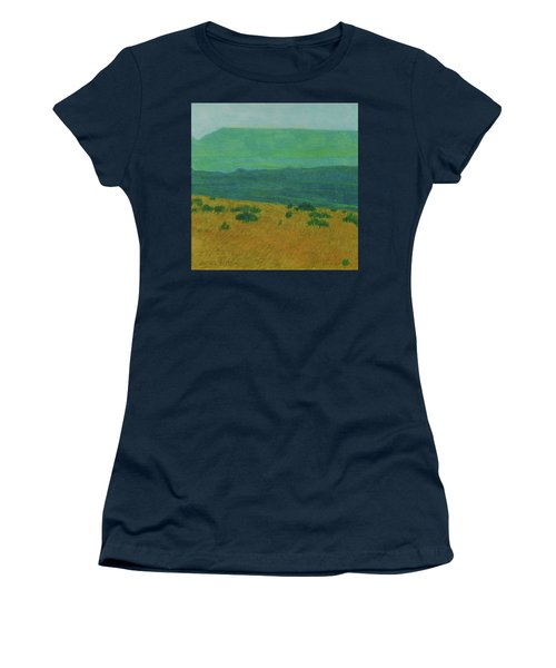 Women's T-Shirt featuring the painting Blue-green Dakota Dream, 1 by Cris Fulton