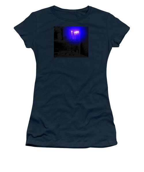 Blue Hanukkah On The Third Day Women's T-Shirt (Athletic Fit)