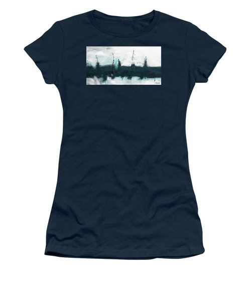 Women's T-Shirt (Junior Cut) featuring the painting Blue Harbour by Carmen Guedez