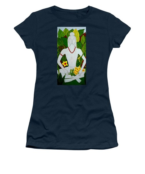 Women's T-Shirt (Junior Cut) featuring the painting Blue Idol by Stephanie Moore