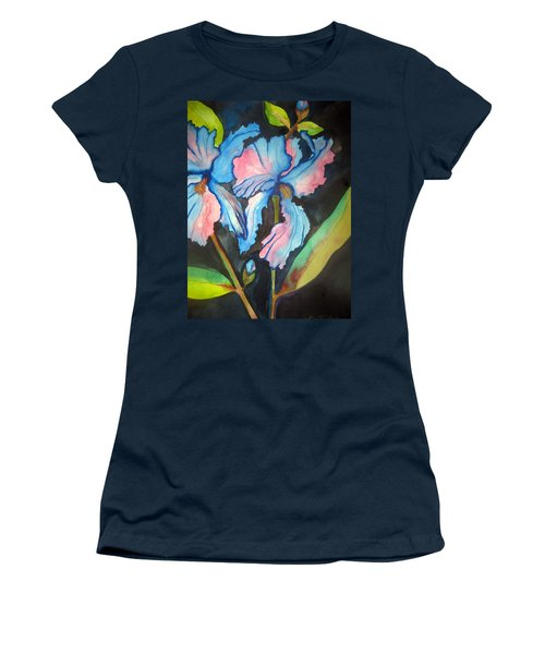 Women's T-Shirt (Junior Cut) featuring the painting Blue Iris by Lil Taylor