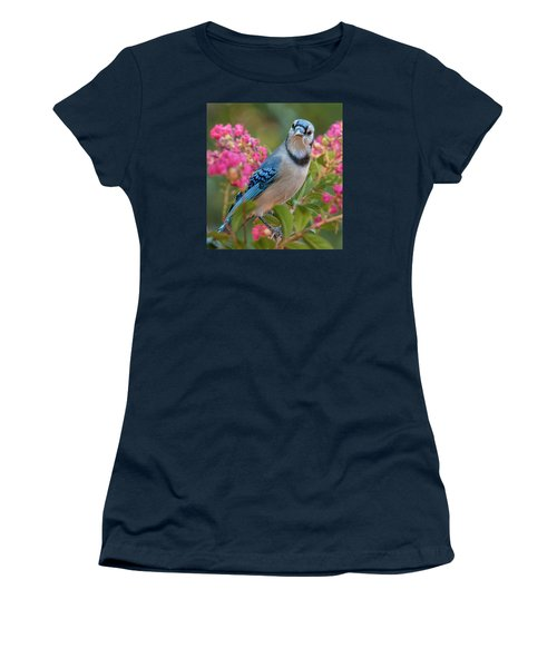 Blue Jay In Crepe Myrtle Women's T-Shirt (Athletic Fit)