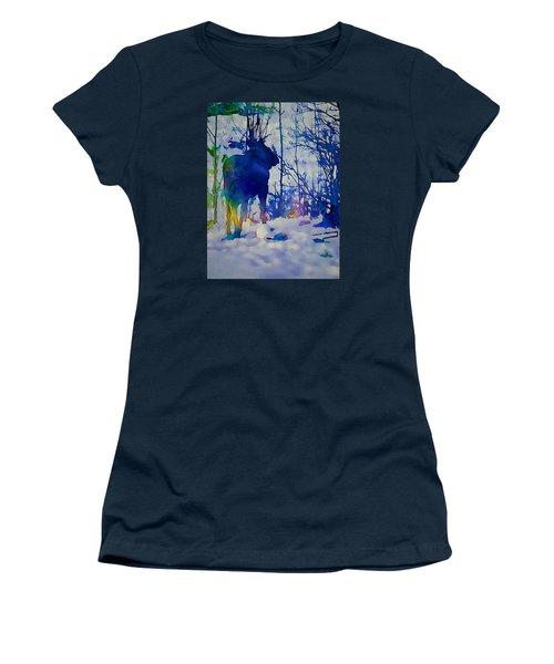 Blue Moose Women's T-Shirt (Junior Cut) by Jan Amiss Photography