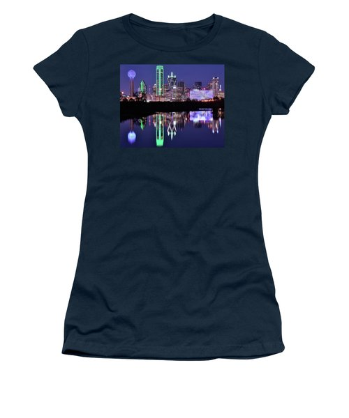 Women's T-Shirt (Junior Cut) featuring the photograph Blue Night And Reflections In Dallas by Frozen in Time Fine Art Photography